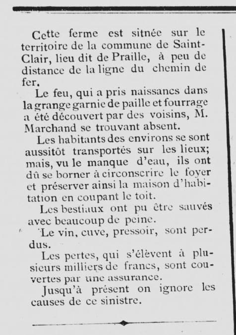 Echo de Vienne 12 octobre 1898 incendie à St Clair (suite)