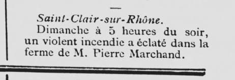 Echo de Vienne 12 octobre 1898 incendie à St Clair