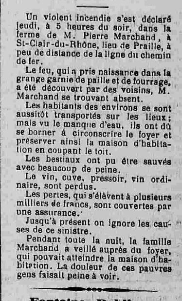 Journal de Vienne 12 octobre 1898 incendie à St Clair