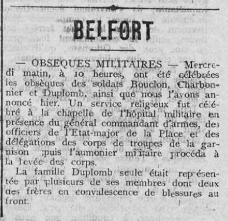 obsèques à Belfort 1916