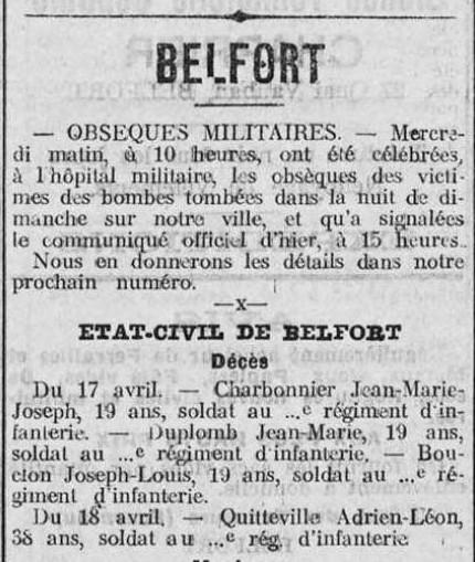 obsèques militaires à Belfort 1916