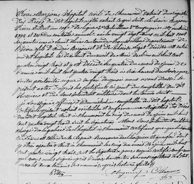 transcription du décès du soldat Pierre Barjon à Chaumond 1883