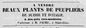 Annonce de vente de vigne à Saint Clair (1840)