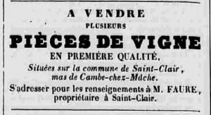 Annonce de vente de vigne à Saint Clair (1841)