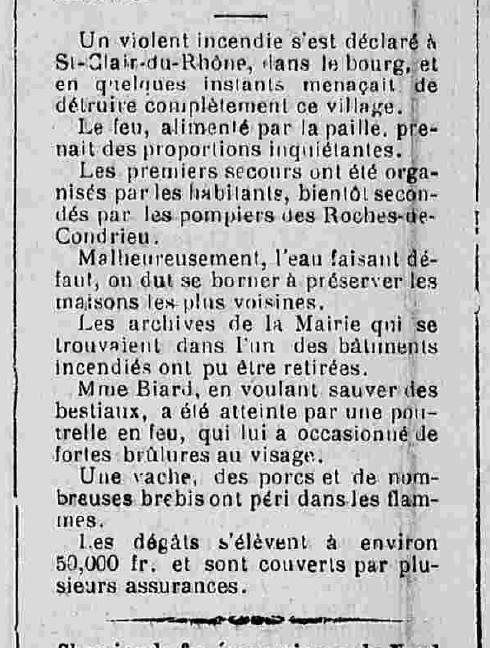 Journal de Vienne 19 août 1893 incendie à Saint Clair